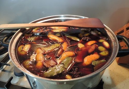 Photo of Gluhwein brewing on the stovetop