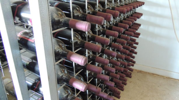 Red wine storage rack full