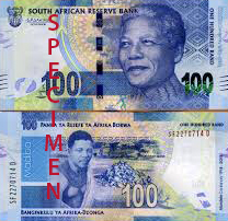 The South African Rand 100 note both front and back featured